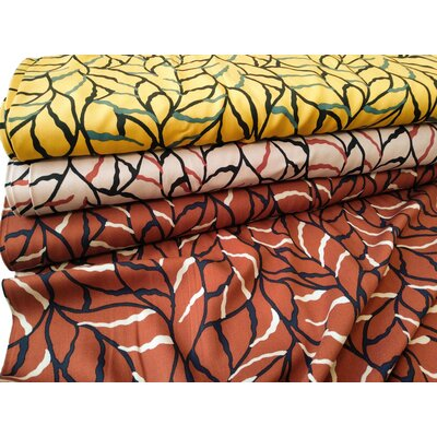 Viscose fabric Twill leaves abstract brown