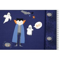 Jersey Halloween Vampire and Ghosts blue panel