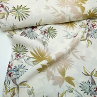 Viscose fabric Leaves Palm trees wool white