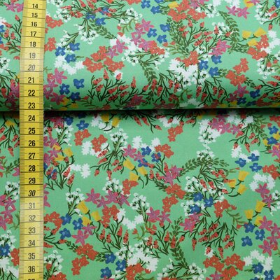 Cotton fabric elastic flowers green