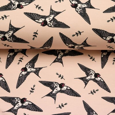 French Terry, Sweat fabric Swallows maritime peach