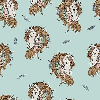 French Terry, Sweat fabric Indian Horse mint