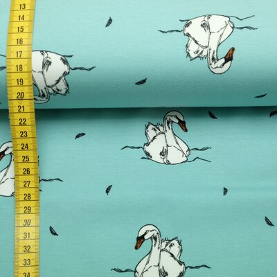 Jersey fabric Swan turquoise