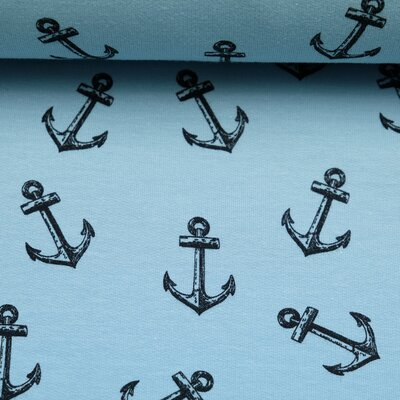 Jersey fabric Anchor maritime blue