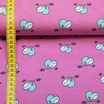 Jersey fabric sloths berry