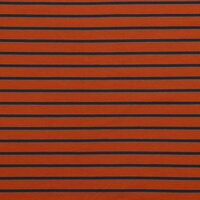 French Terry, Sweat Stripes terracotta- jeans blue