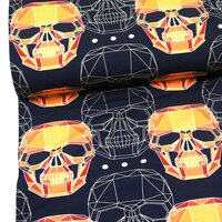French Terry, Sweat Stoff Skull Totenkopf schwarz-orange