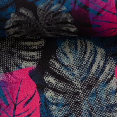 Cotton fabric  leaves, Swafing Voile, Jungle Network pink dark blue